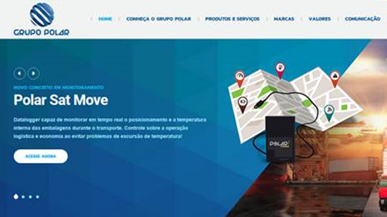 Layout do novo site do Grupo Polar